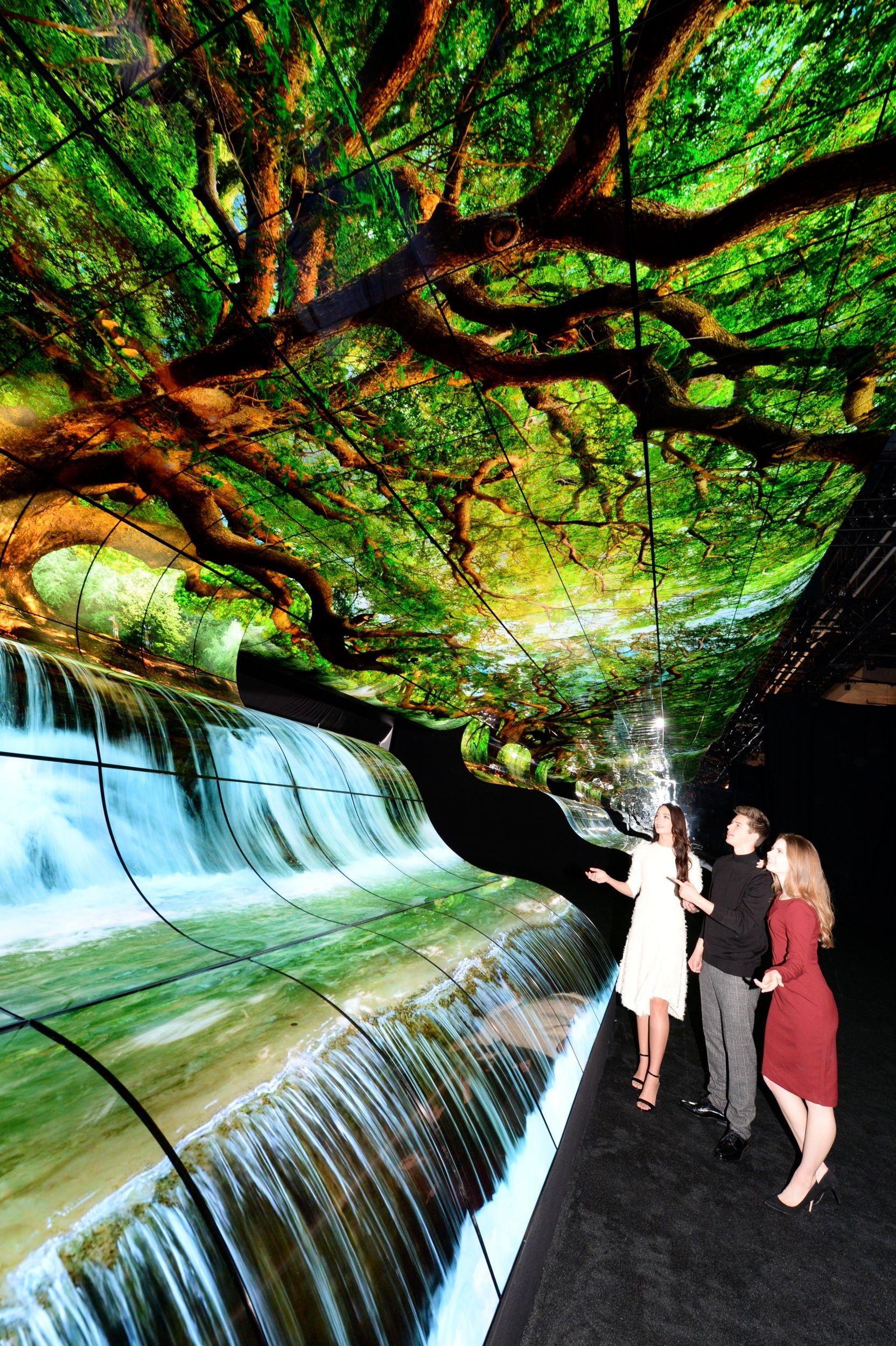 """عرض   LG OLED FALLS   بمعرض مدينة  """"لاس فيغاس""""   يفوق كل التوقعات:"""