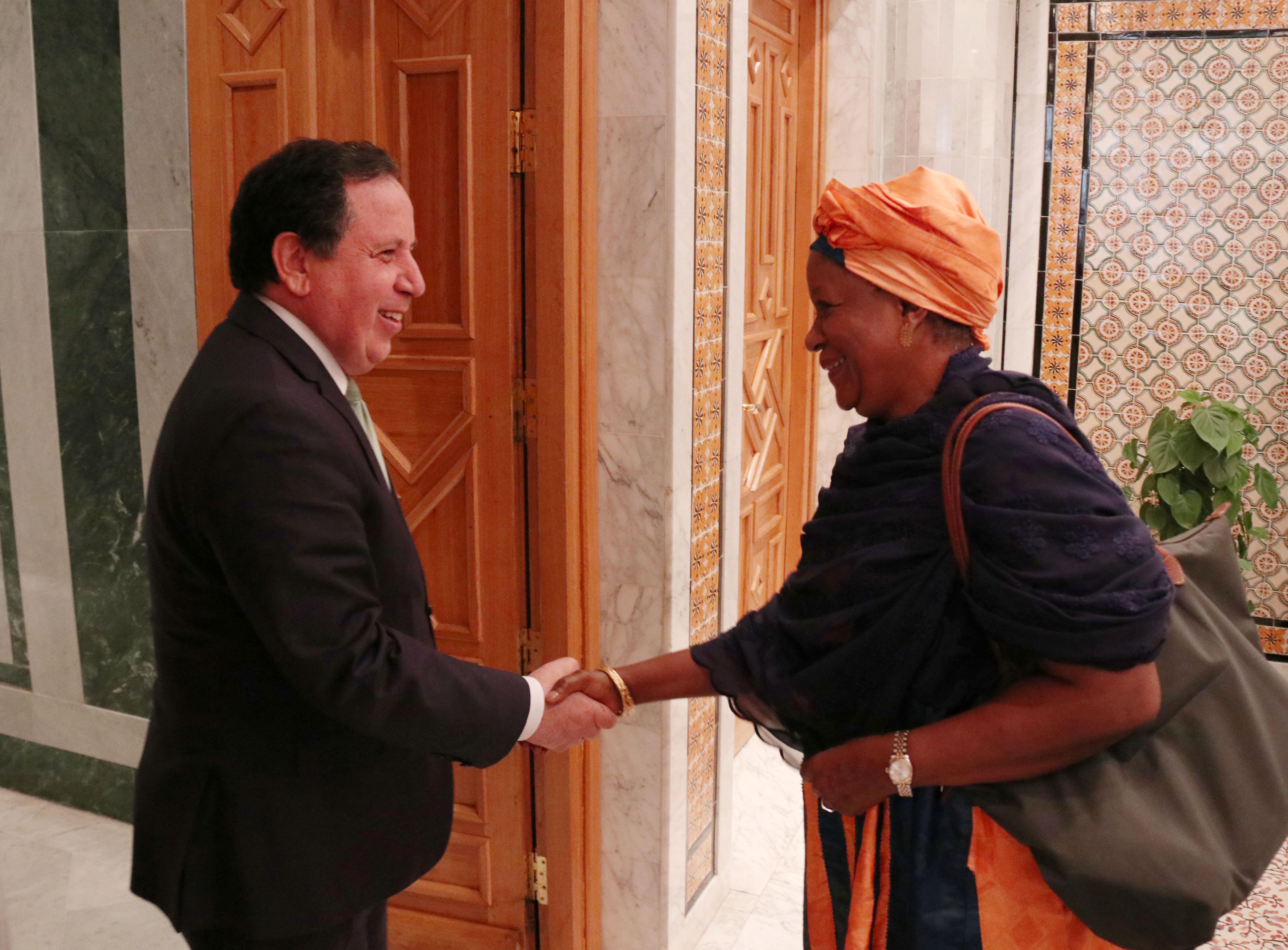 وزير الشؤون الخارجية يلتقي رئيسة الحركة العالمية من أجل الديمقراطية: