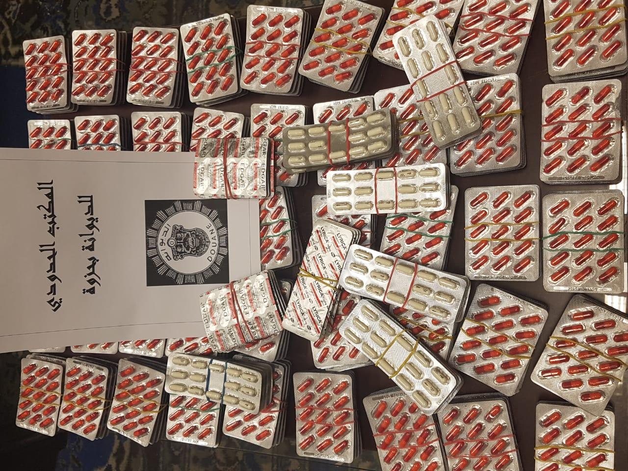 المصالح الحدودية للديوانة بمعبر حزوة تحجز 3369 حبة دواء مخدّر: