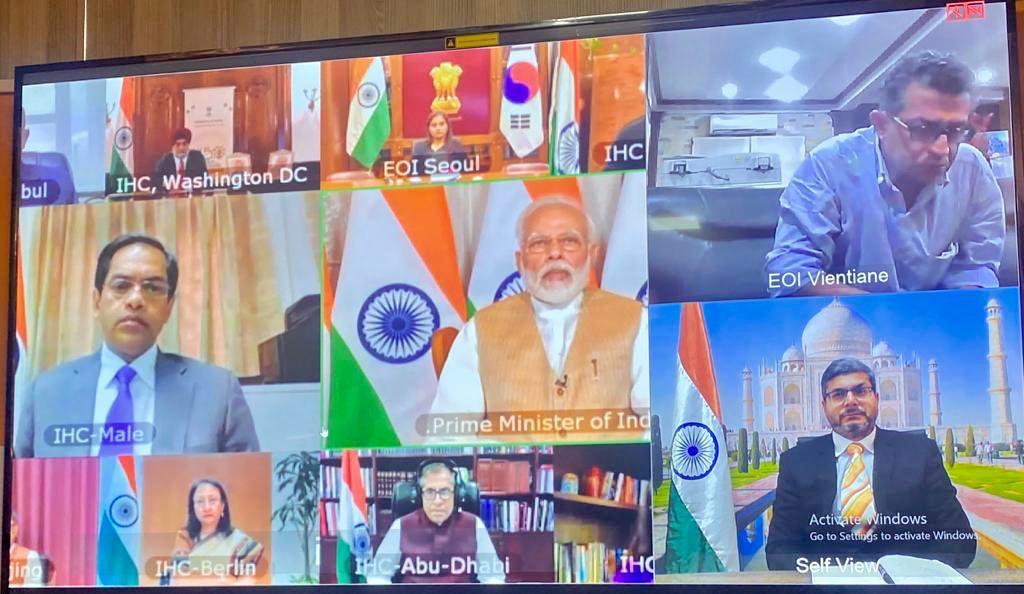 مؤتمر بالفيديو لرئيس وزراء الهند مع سفراء الهند:
